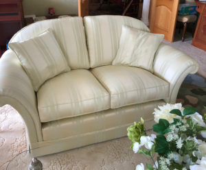 2 seater settee recovered in damask stripe with new hollow fibre seat cushions