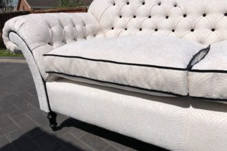 Buttoned sofa recovered with new feather/fibre filled cushions