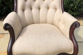 Victorian buttoned back chair totally recovered and reupholstered in cream flat weave fabric