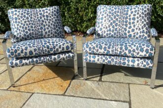 A pair of armchairs totally rebuilt and recovered