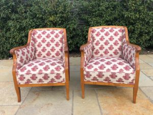 A pair of Biedermeier chairs completely reupholstered and recovered in designers guild fabric