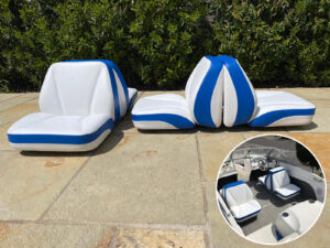 4 Helmsman Seats for a boat all recovered in white and blue contrast.