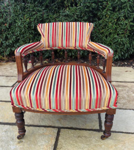 An Edwardian chair I recently recovered in a striped fabric