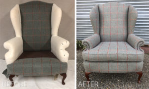 Fully recovered winged back armchair