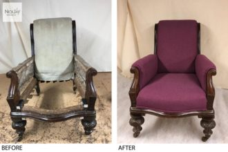 A Victorian chair completely reupholstered and recovered