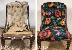 A Victorian nursing chair completely re-upholstered