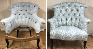 Before and After of a Victorian button back chair completely reupholstered in Linwood fabric
