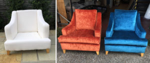 Before and after... A pair of multi York armchairs recovered in some striking colours