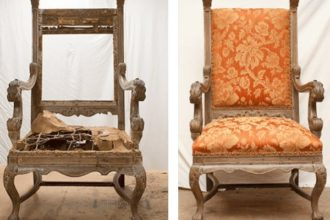Here is the before and after of an antique chair brought to me.