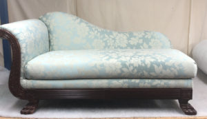 A chaise brought back to life in duck egg blue with a contrasting pattern