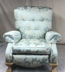 A recliner brought back to life in duck egg blue with a contrasting pattern