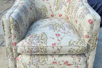 Armchair restored and recovered in Linwood Acadia