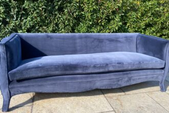 French-style settee recovered in De Le Cuona velvet