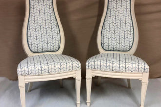 Pair of bedroom chairs recovered and reupholstered