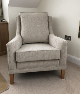 Derwent arm chair recovered in chenille