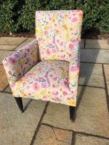 An old Edwardian chair recovered in a Clarke & Clarke print