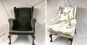 Winged arm chair completely recovered and reupholstered in a Blendworth fabric