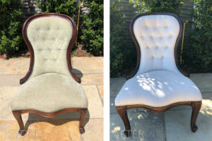 Antique reproduction chair recovered in cream velvet, with added crystal buttons.