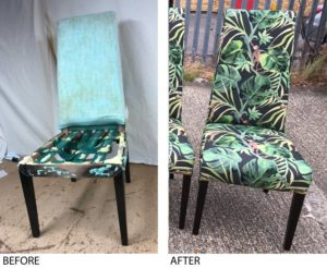 A set of 4 large dining chairs re webbed and re foamed, covered in a funky fabric